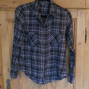 Blue/Grey and White Plaid Flannel Shirt